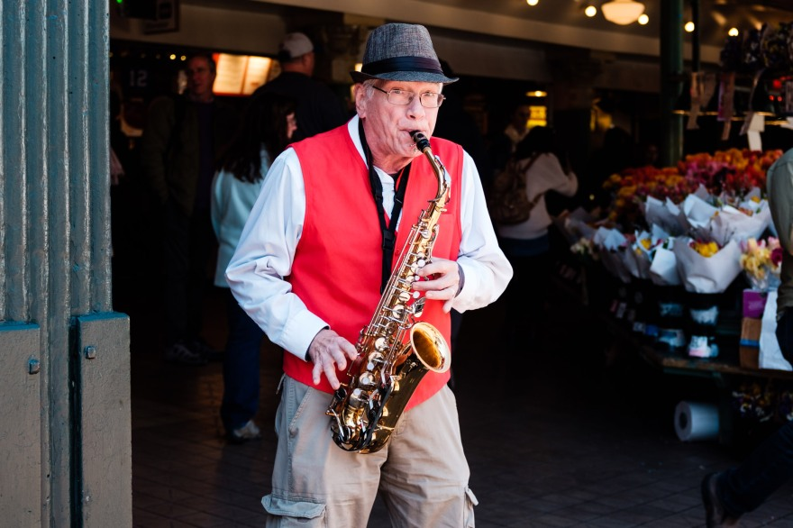 Brother Billy plays the sax at Pike Place Market. Seattle, WA. April 2017.