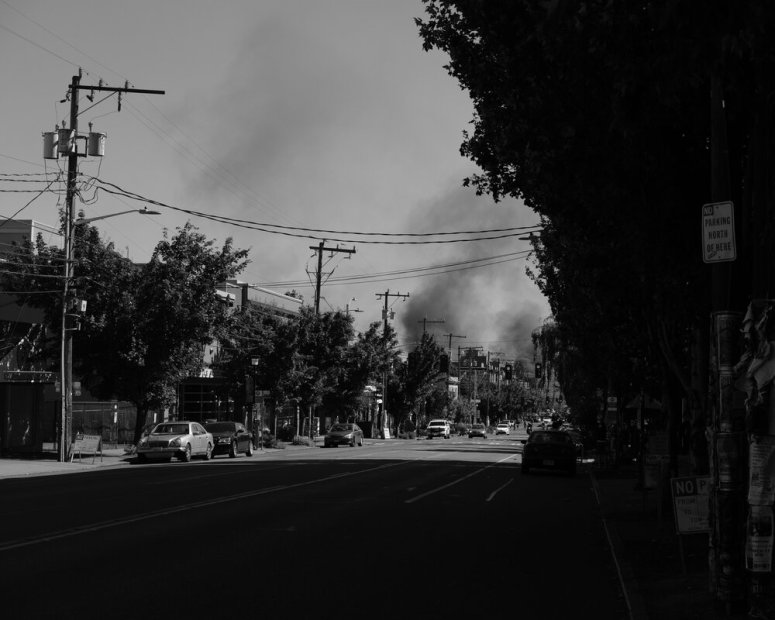 Smoke from fires at the King County youth jail site. Seattle, 25 July 2020